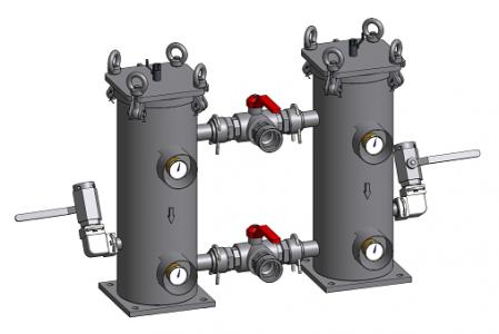 Niskociśnieniowy filtr dwukomorowy rewersyjny